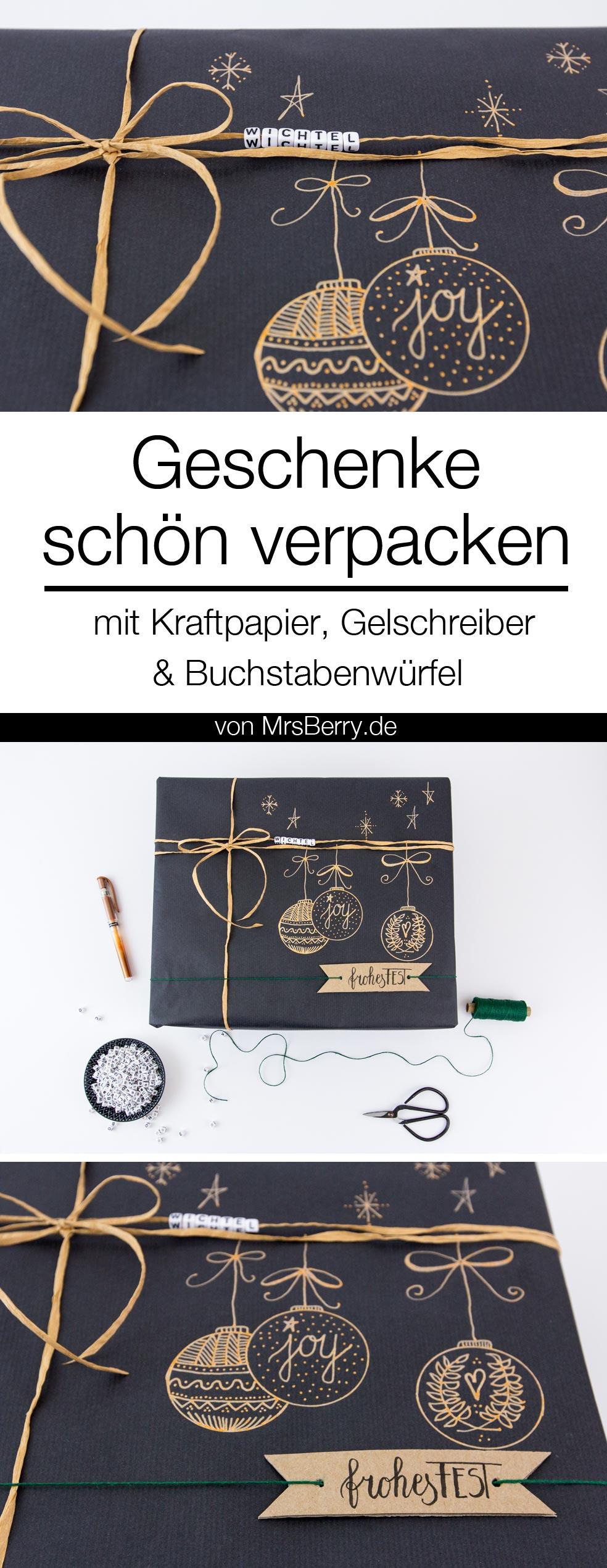 DIY: Geschenke schön verpacken für Weihnachten - mit schwarzem Kraftpapier, Gelschreiber und Buchstabenwürfel