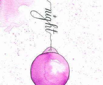 Weihnachtskarten selber machen mit Aquarell - Weihnachtskugel holy night