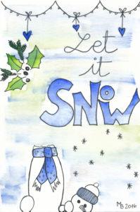Weihnachtskarten selber machen mit Aquarell - Let it snow