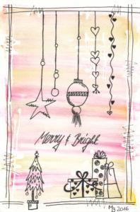 Weihnachtskarten selber machen mit Aquarell - Merry & Bright
