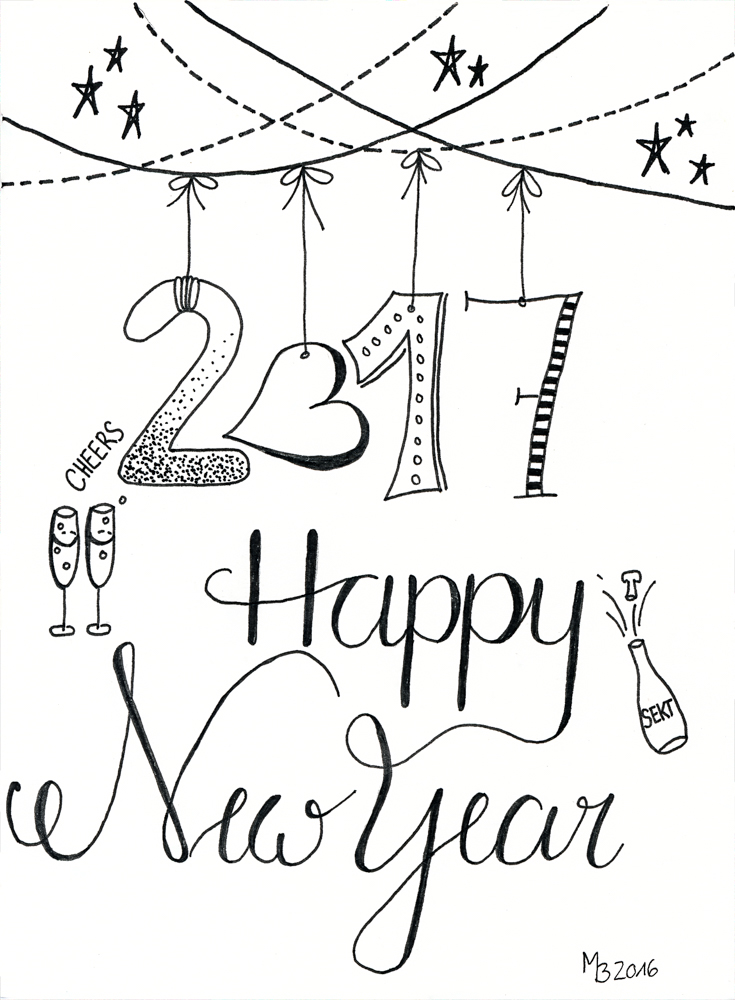 Happy New Year - Lettering & Doodle