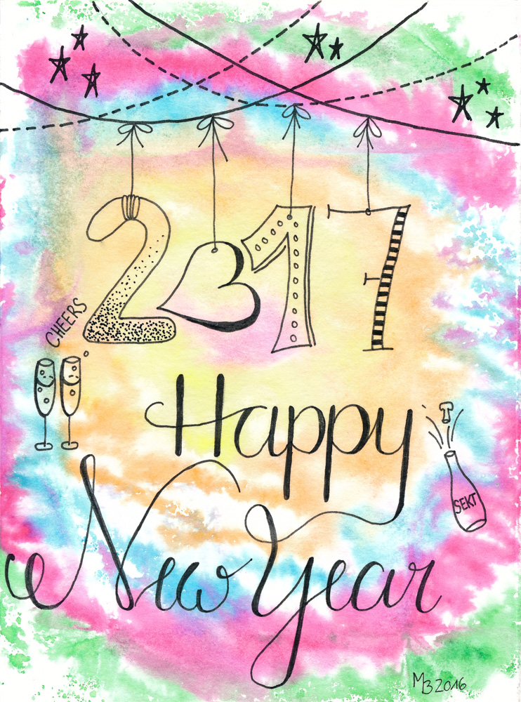 Happy New Year - Lettering & Doodle bunt