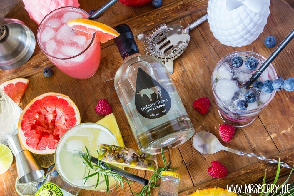 Muttertagsgeschenke: Gin-Cocktail-Party mit Rezepte für Regenbogen-Cocktails und Einhorn Tränen Gin Likör