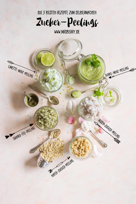 Beauty DIY | Peeling selber machen - die 5 besten Zucker-Peeling zum Selbermachen für Zuhause | Gurke-Mint-Zucker-Peeling + Kokos-Limette-Mint-Peeling + Rosen-Zucker-Peeling + Kokos-Hafer-Zucker-Peeling + Grüner-Tee-Zucker-Peeling