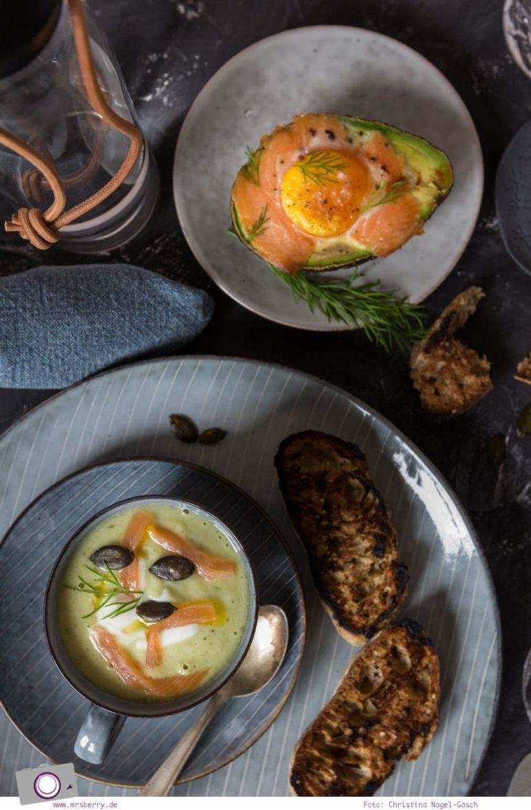 Sommer Rezepte mit Avocado: kalte Gurken-Avocado-Suppe mit Lachs und gebackene Avocado mit Lachs und Ei