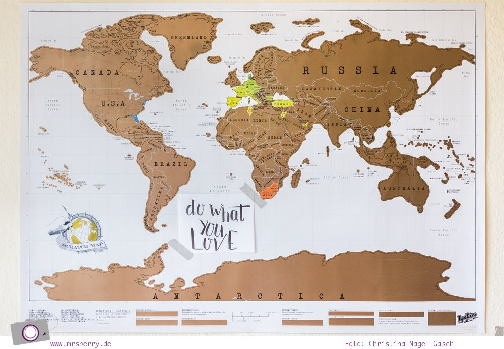 Geburtstagsgeschenke für Reisende - Gadgets mit Fun Faktor | Rubbel Weltkarte