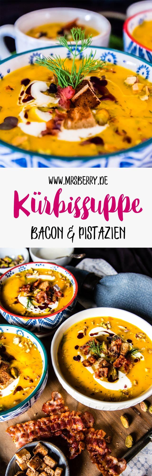 Kürbissuppe selber machen: Rezept für Kürbissuppe mit Bacon und Pistazien