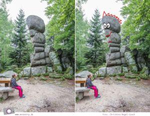 ZweiTälerLand im Schwarzwald: Wandern mit Kind zu den Siebenfelsen. Die bizarre Felsformation ist vermutlich keltischen Ursprungs. I see faces ;-)