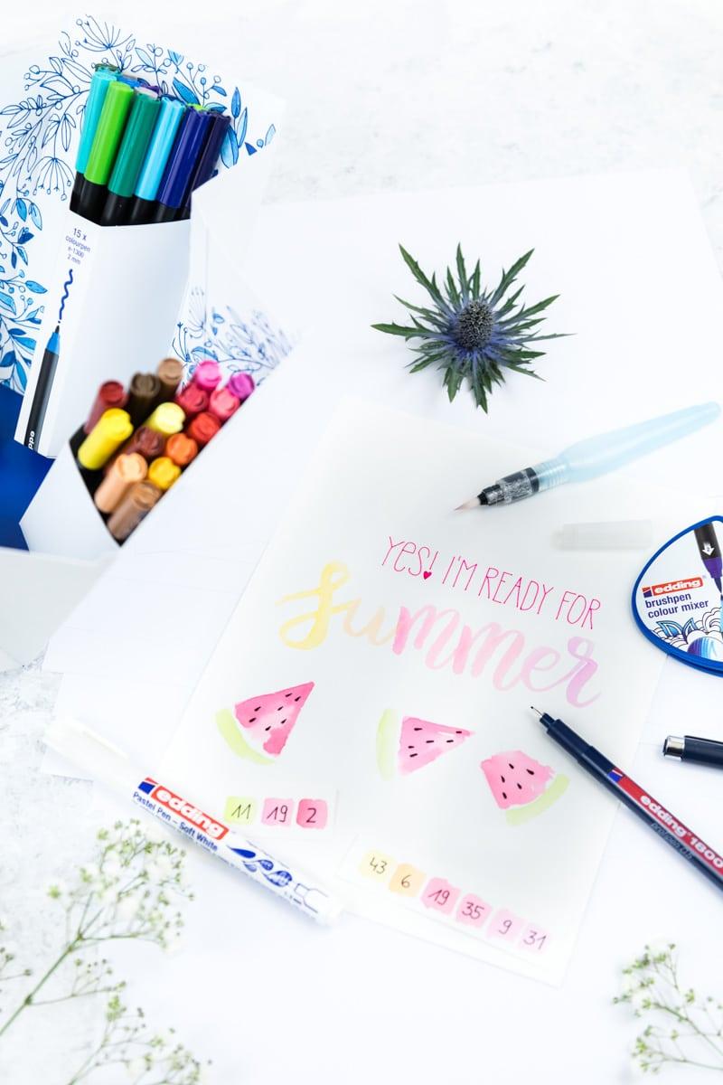 Lettering Basic Guide mit Tipps & Tricks für Anfänger und Fortgeschrittene | Beispiel Watercolor Summer Lettering mit der edding Color Happy Box - der perfekten Box für Lettering Einsteiger
