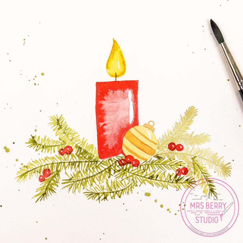 Watercolor Workshop Köln - moderne Aquarellmalerei lernen | Watercolor Christmas Workshop mit weihnachtlichen Motiven