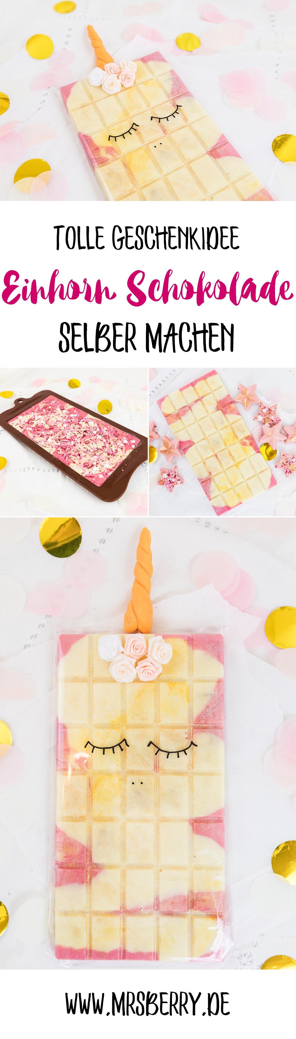 Schokolade selber machen - eine tolle Geschenkidee | Ich zeige euch, wie ihr bunte Einhorn Schokolade selber machen könnt, diese originell als Einhorn verpackt und damit eine tolle Geschenke für Familie und Freunde herstellt.