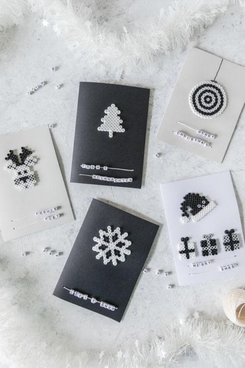 Weihnachtskarten basteln mit Bügelperlen