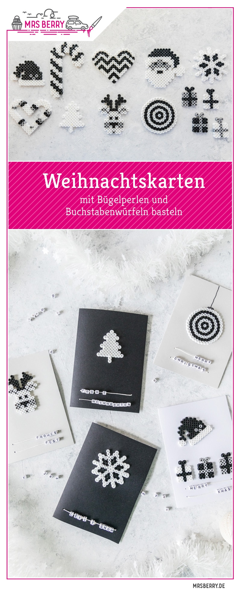 Weihnachtskarten basteln mit Bügelperlen. Ein schnelles DIY zum Basteln mit Kindern. Die liebevollen Weihnachtskarten für Oma, Opa & die Familie werden begeistern. Eine Anleitung dafür findet ihr im MrsBerry.de Blog.