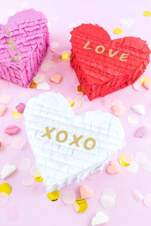 Pinata Herzen basteln zum Valentinstag