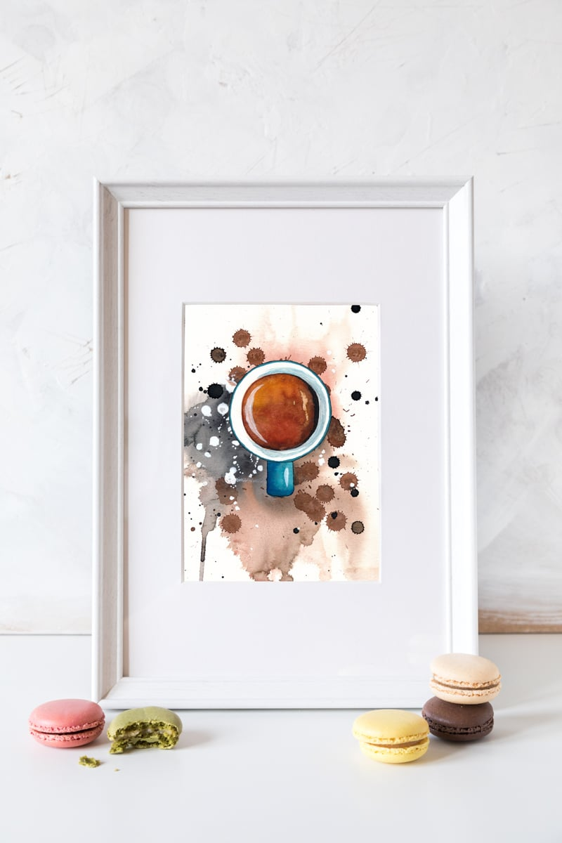 Watercolor Coffee Espresso by MrsBerry, free Wallpaper + How To Step by Step