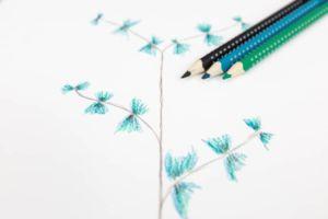 Watercolor Eukalyptus mit Aquarellstiften und mit Let Love Grow Lettering