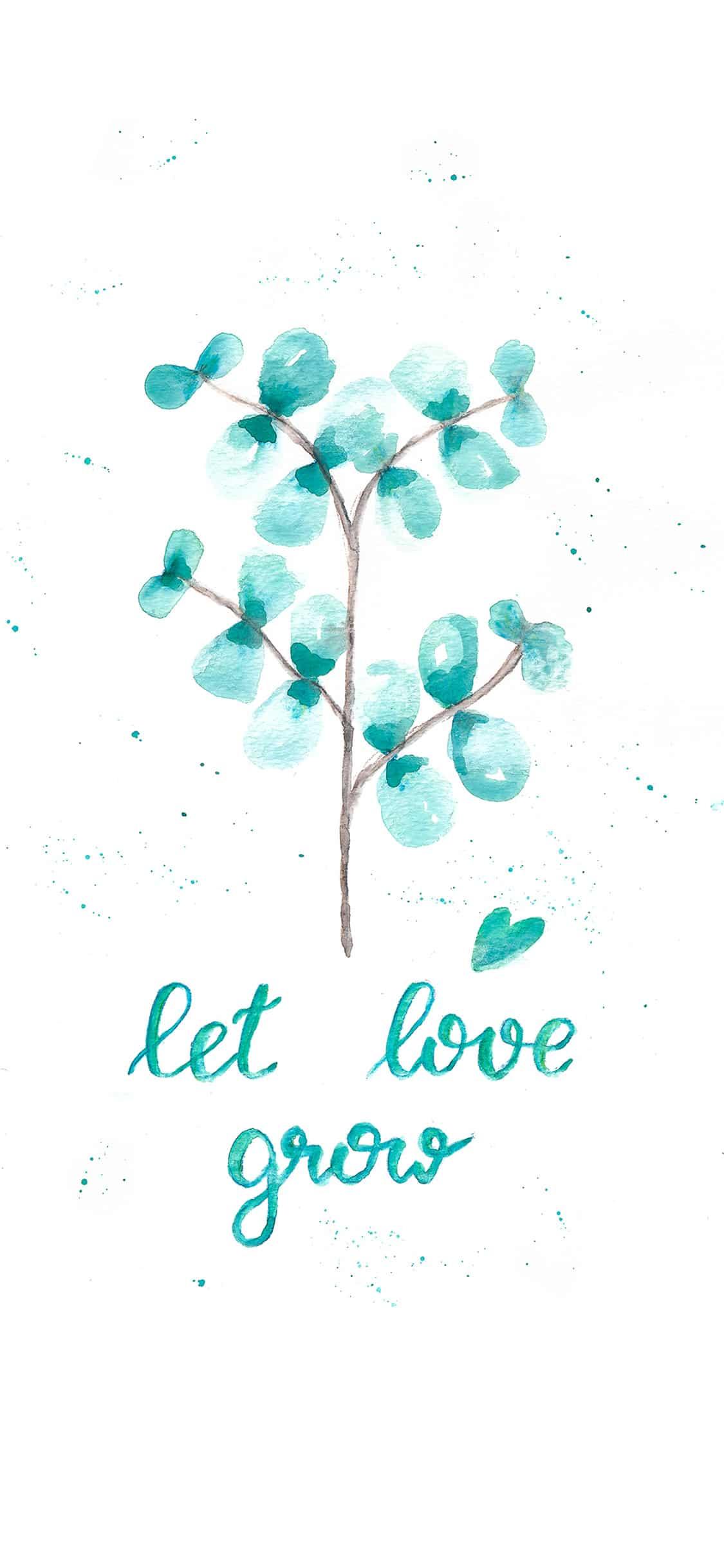 Watercolor Eukalyptus mit Let Love Grow Lettering