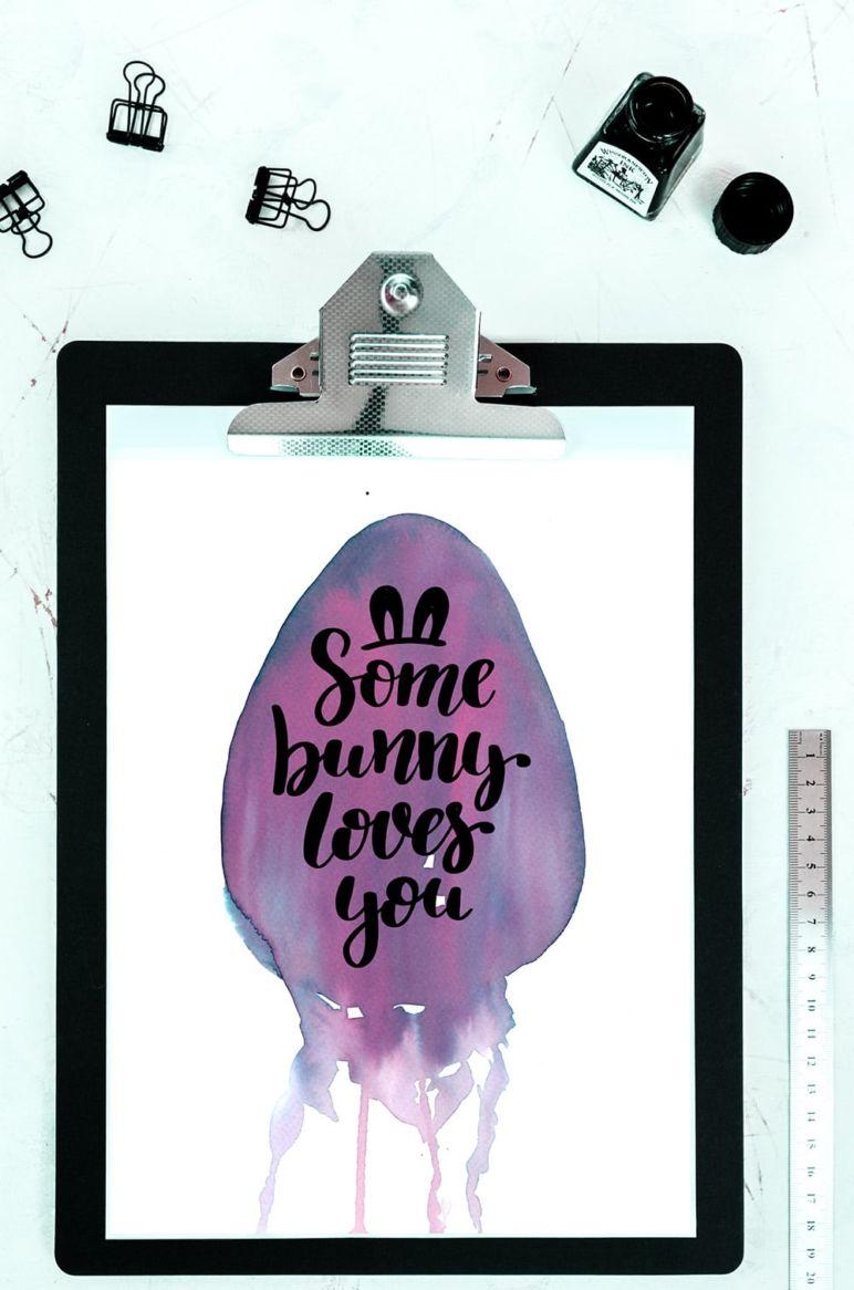 Watercolor + Lettering Osterei von MrsBerry zum kostenlosen Download im MrsBerry Familien-Reiseblog www.mrsberry.de