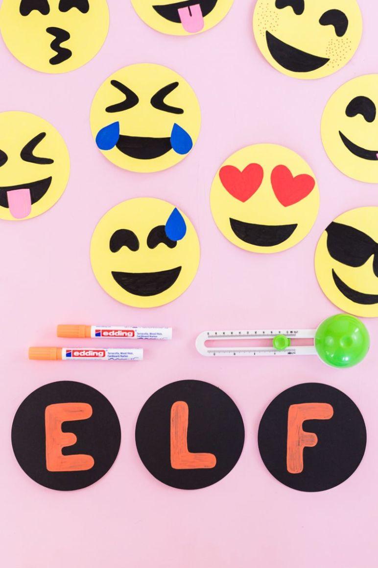 Emoji DIY Geburtstagsparty Deko Ideen zum selber machen - Geburtstagsbanner mit Geburtstagszahl basteln