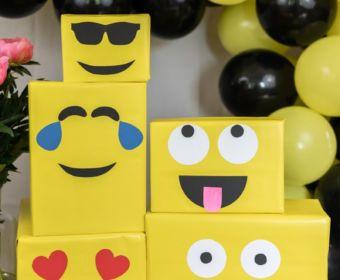 Emoji DIY Geburtstagsparty Deko Ideen zum selber machen | Geschenke als Emoji verpacken