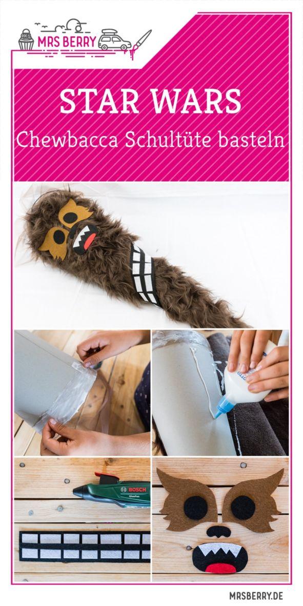 STAR WARS Schultüte basteln Chewbacca - eine DIY Idee zu Einschulung und Schulanfang | mit Schritt für Schritt Anleitung zum einfachen Basteln mit Kindern | Eine Idee des MrsBerry DIY-Blog