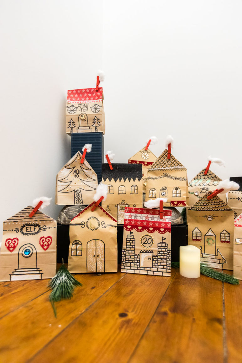 adventskalender basteln aus kraftpapier t ten. Black Bedroom Furniture Sets. Home Design Ideas
