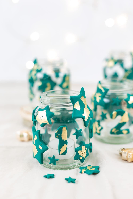 DIY Adventskranz aus Fimo und Altglas selber machen