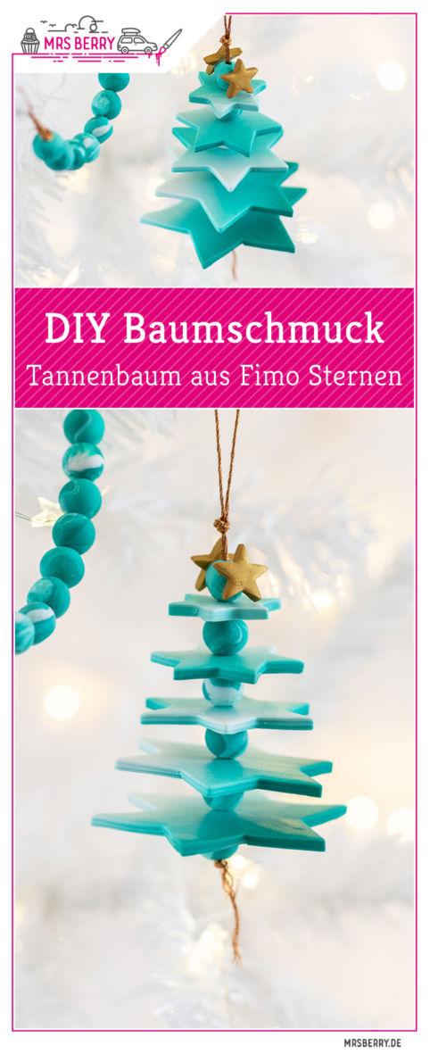 Kreativen DIY Baumschmuck selber machen: Dieses Tannenbaum Ornament aus Fimo Sternen mit wunderschönem Farbverlauf ist ein einzigartiger Christbaumschmuck. Das DIY Projekt eignet sich perfekt zum Weihnachtsdeko Basteln mit Kindern: die Schritt für Schritt Anleitung findest du auf dem MrsBerry.de Blog