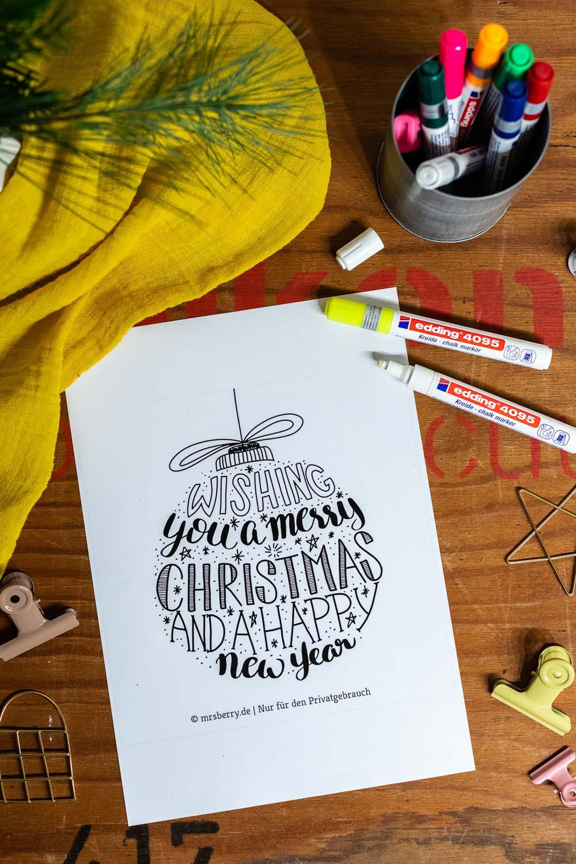 Lettering Weihnachtskugeln als Fensterbilder Vorlage zum kostenlosen Download