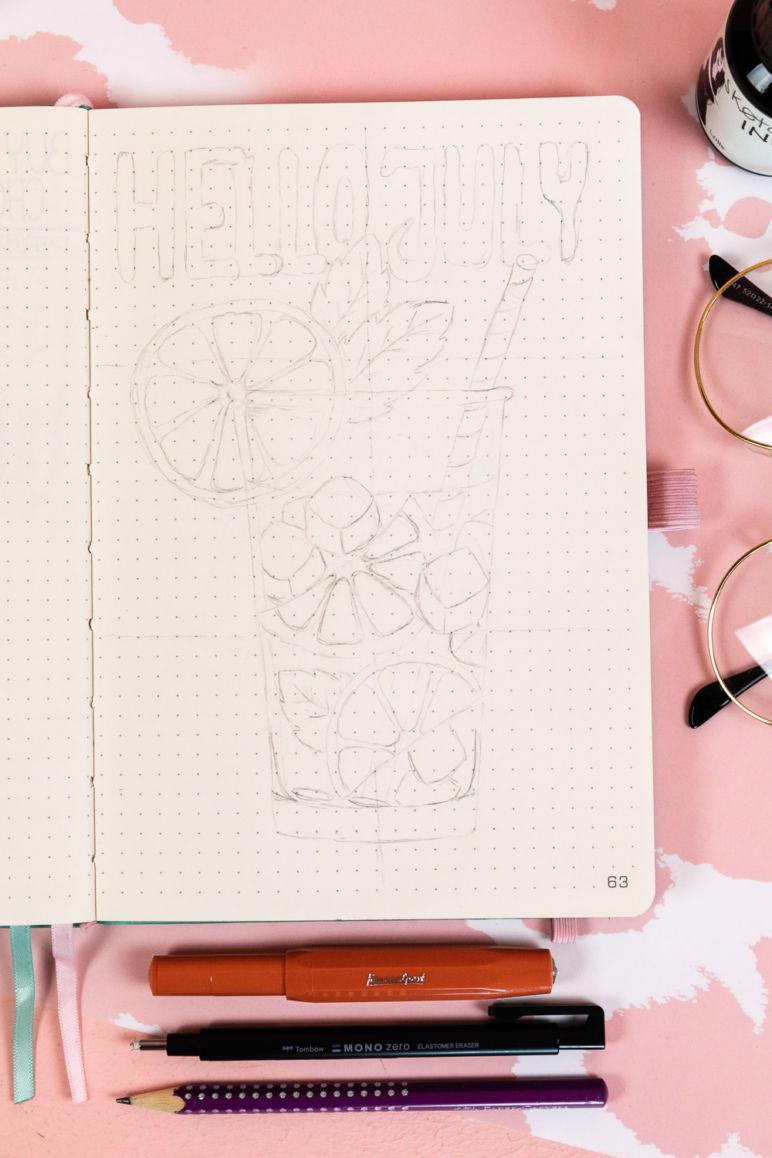 Bullet Journal Inspiration: Monatsthema Zitronen. Bujo Ideen mit Monatsdeckblatt, Monatsübersicht, Wochenübersicht, Meal Log und Mood Tracker. Diese und mehr Bujo Ideen findest du auf dem MrsBerry.de Kreativblog.