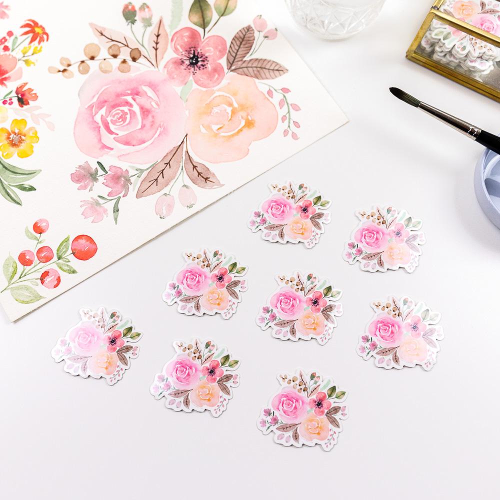 Watercolor Vinyl Sticker Flowers