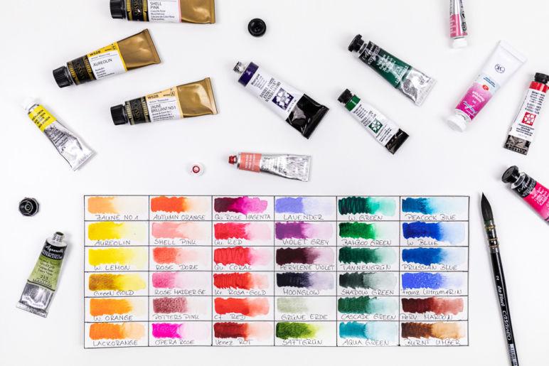 Die 37 Farben in meiner Watercolor Farbpalette