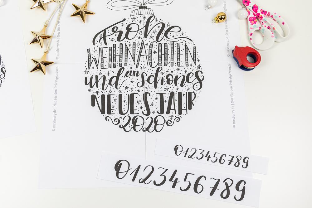 Fensterbild Vorlage zu Weihnachten: Lettering Weihnachtskugel in drei Motiven als digitaler Download