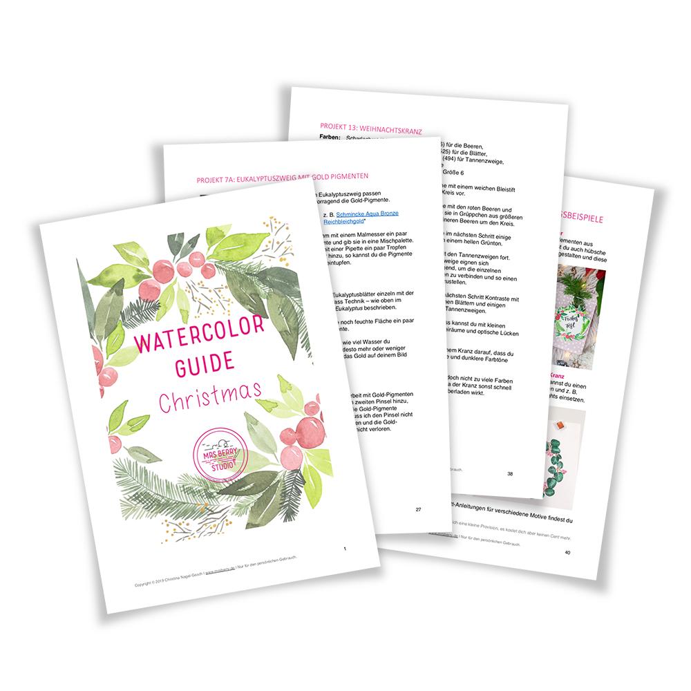 Watercolor Christmas Guide - Aquarell lernen mit weihnachtlichen Motiven für Anfänger by MrsBerry.de
