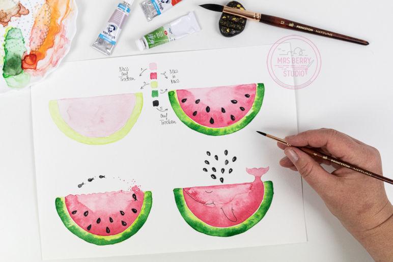 Watercolor Tutorial: Melone malen mit Aquarellfarben - eine Schritt-für-Schritt Anleitung des MrsBerry.de Kreativ-Blog