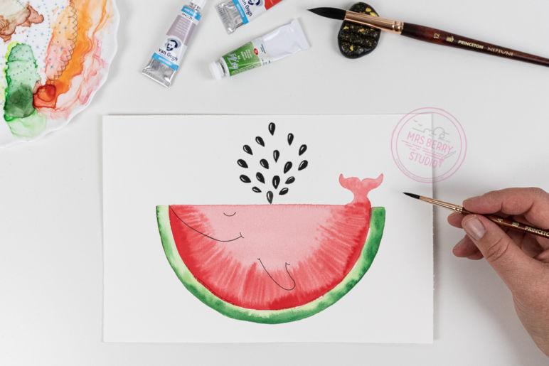 Watercolor Tutorial: Melonenwal malen mit Aquarellfarben - eine Schritt-für-Schritt Anleitung des MrsBerry.de Kreativ-Blog